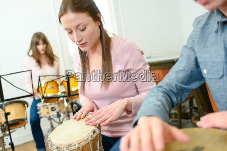 drummers in a lesson