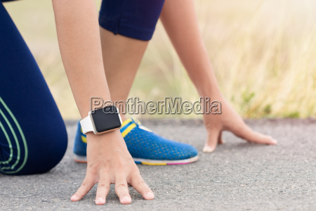 woman in gesture ready to run