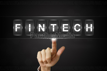 business hand clicking fintech or financial