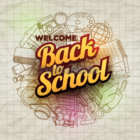 vector welcome back to school text