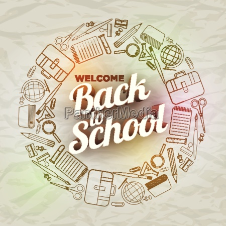 grafik back to school text und