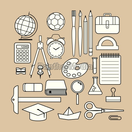 vector school supply icon design collection