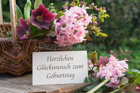 german language birthday card with hyacinths
