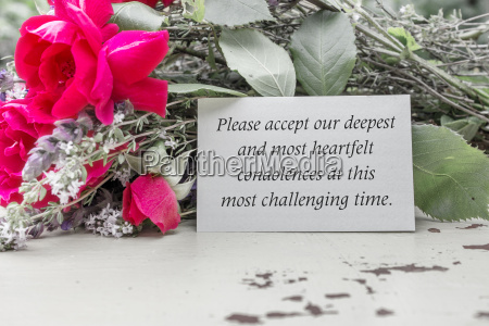 english mourning card with roses