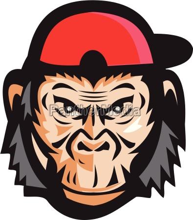 wuetend schimpanse kopf baseballmuetze retro