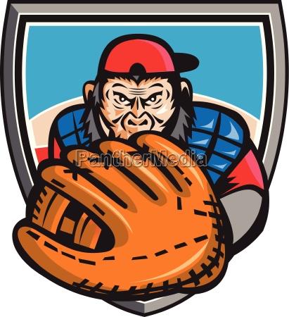 schimpanse baseball catcher handschuh schild retro