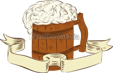mittelalterlicher bier becher schaum zeichnung