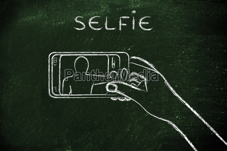 hand haelt smartphone fotografiert mit text