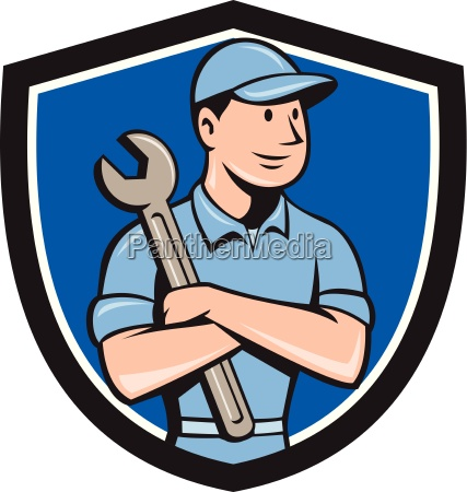 mechanic arms gekreuzte spanner wappen cartoon