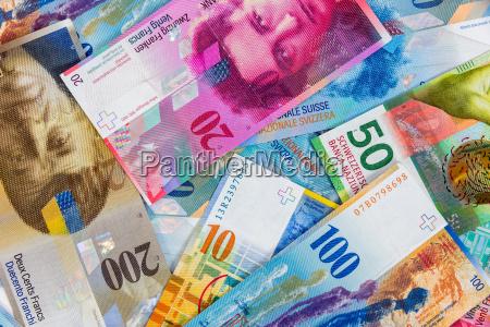 schweizer franken banknoten als hintergrund