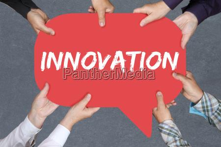 group people holding innovation idea leadership