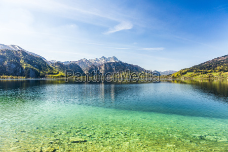 beautiful alpine lake attersee with crystal
