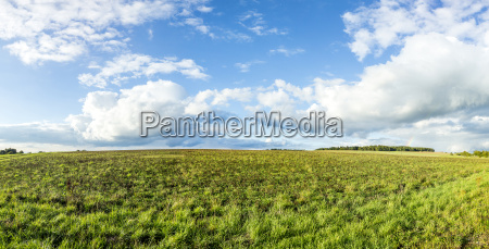 rural landscape with fields and clouds