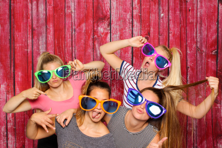 girl group of glasses silly in