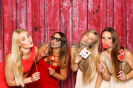 pretty girls before fotobox hold various