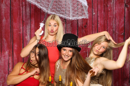young women make party and fool