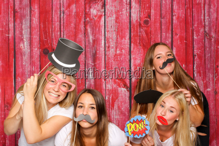 girls with different probs before photobooth