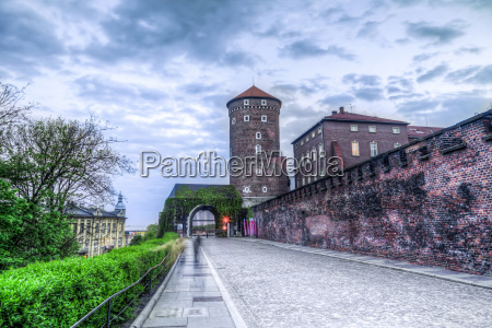 medieval architecture of sandomierska tower and