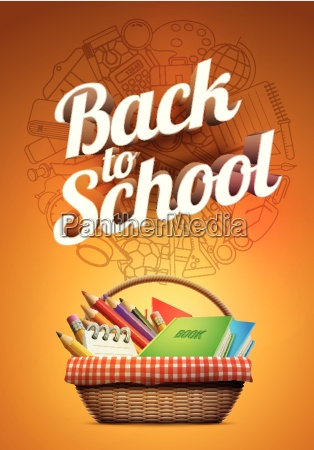 back to school poster with school