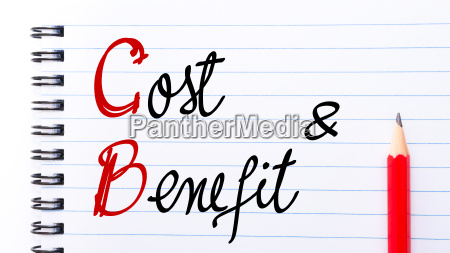 cb cost benefit written on notebook
