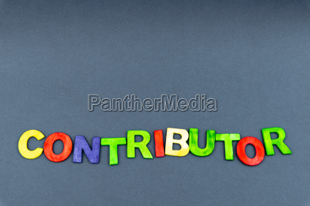 word contributor created of wood letters