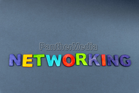word networking created of wood letters