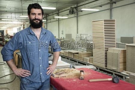 portrait of carpenter smiling in a