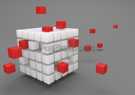 3d illustration outsourcing porcelain cubes with