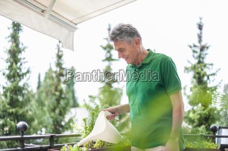 smiling senior man on balcony watering