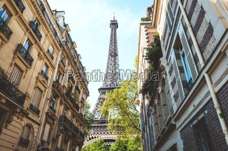 france paris eiffel tower among buildings