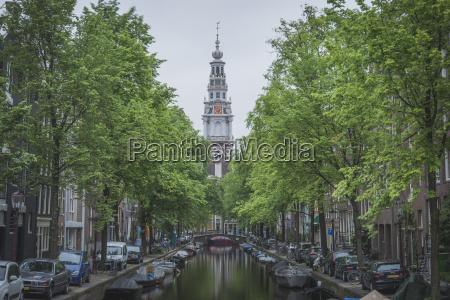 niederlande amsterdam groenburgwal und zuiderkerk