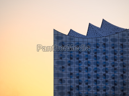 germany hamburg elbphilharmonie at sunset partial