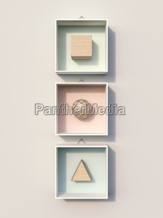 geometric shapes hanging on wall 3d