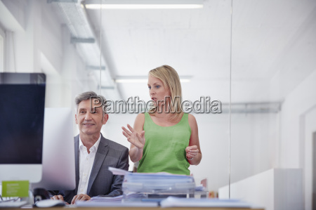 businessman and colleague working together in