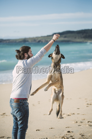 man playing with his mongrel on