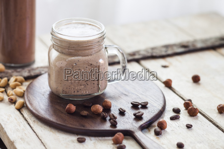 glass of smoothie with coffee roasted