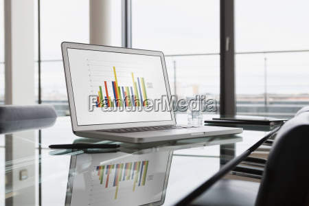 laptop with bar chart on office