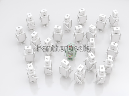 group of white robots with a