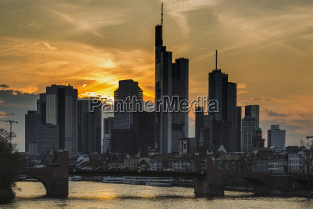 germany hesse frankfurt financial district at