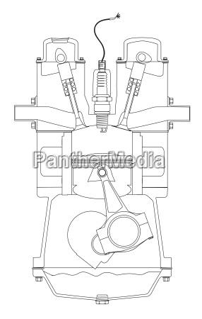 outlind drawing petrol engine