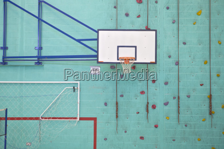 basketball hoop against turquoise rock climbing