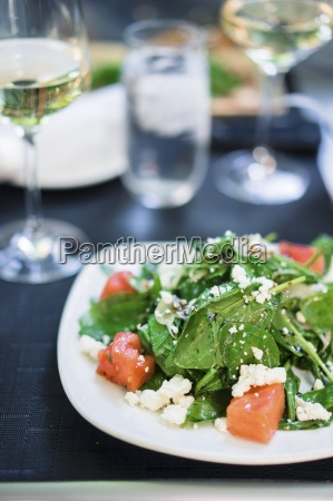summer salad with spinach watermelon and