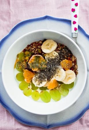 frisches obst und joghurt mit chia