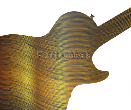 fine gold thread as guitar silhouette