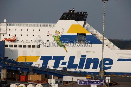 faehrschiff im hafen von travemuende germany