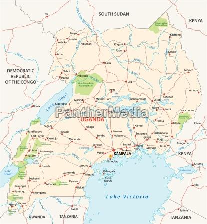 detaillierten vektor strassenkarte von republik uganda