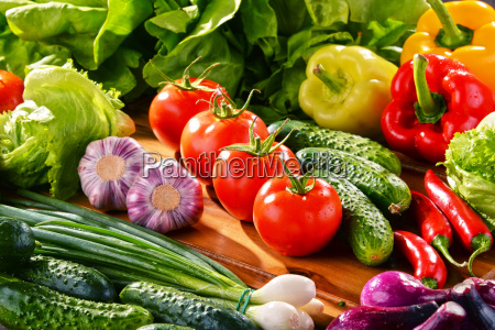 composition with variety of fresh organic