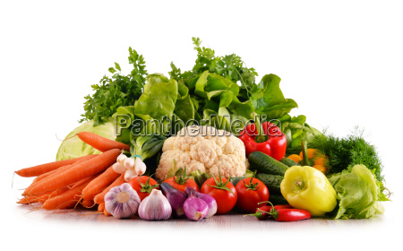 variety of fresh organic vegetables isolated
