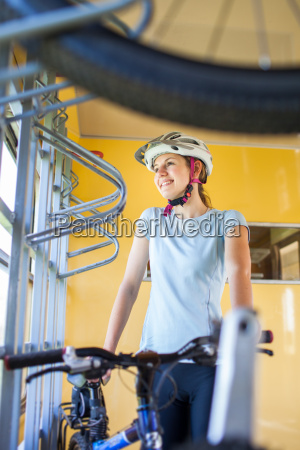 cycling tourism young woman traveling by