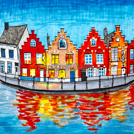 scenic city view of bruges canal